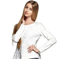 O.SA - Long-Sleeve Embossed-Flower Pleated Top