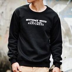 SeventyAge - 简约字母HAPPINESS刷毛大学T