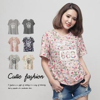 CUTIE FASHION - Short-Sleeve Patterned T-Shirt