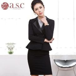 Aision - Double-Breasted Peplum Jacket / Pencil Skirt / Beaded Blouse