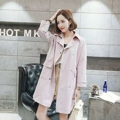 Dreamy Kiss - Pocketed Trench Coat
