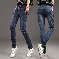 Dream Girl - Drawstring Waist Washed Jeans