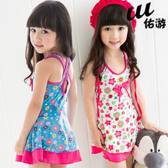 Mermaid's Tale - Kids Floral Print Swimdress