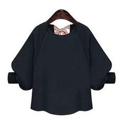 LIVA GIRL - 七分袖后结带雪纺衬衫