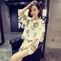 Rocho - 套裝: 蜜蜂印花短袖上衣 + 印花短褲