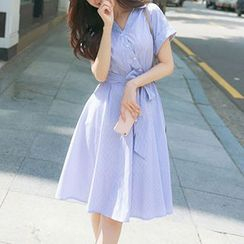 EFO - Striped Tie-Sash Shirtdress