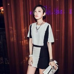 LOLO - Set:  Color-Block Elbow-Sleeve Top + Miniskirt