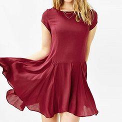 Richcoco - Short-Sleeve Zip Dress