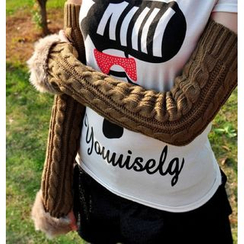 Azuki - Furry Trim Cable-Knit Arm Warmers