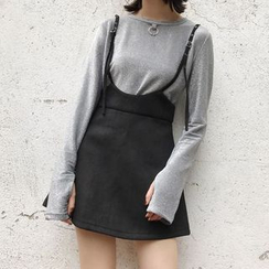 OCTALE - Plain A-Line Mini Suspender Skirt