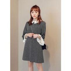 J-ANN - Collared Contrast-Trim Wool Blend Shift Dress