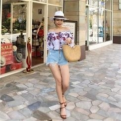 LIPHOP - Floral Embroidered Off-Shoulder Top