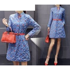 trendedge - Long-Sleeve Applique Denim Dress