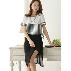 Dowisi - Short-Sleeve Striped Mock Two Piece Dress