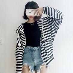 CosmoCorner - Loose-Fit Striped Hooded Jacket