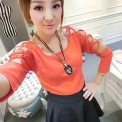Ando Store - Set: 3/4-Sleeve Cutout Top + A-Line Skirt