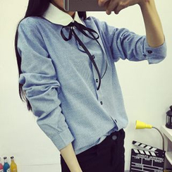 Cloud Nine - 繫帶領拼接麻混紡襯衫