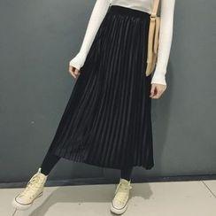 QZ Lady - Pleated Velvet Midi Skirt