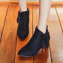 Gizmal Boots - Tasseled Chunky Heel Ankle Boots