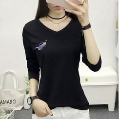 Cottony - Print Long Sleeve V-Neck T-Shirt