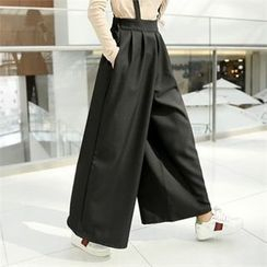 clicknme - Banded-Waist Wide-Leg Pants with Suspenders