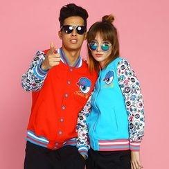 HappyTee - Printed Couple Baseball Jacket