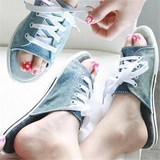 Reneve - Lace-Up Denim Slippers