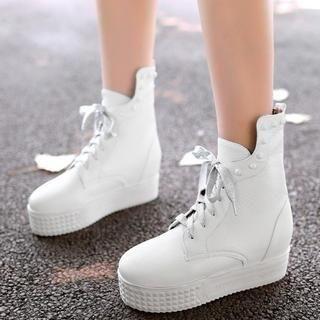 Pangmama - Lace-Up Studded Platform Short Boots