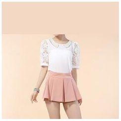 草莓花朵 - 褶裥裙裤