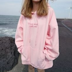 YUKISHU - Letter Embroidered Long Hoodie