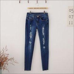 Maymaylu Dreams - 牛仔裤。破洞帅气小脚长裤