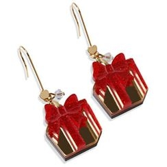 Sweet & Co. - Glitter Red Present Dangle Gold Earrings