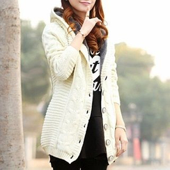 Hanee - Fleece-Lined Cable Knit Hooded Long Cardigan