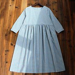 tete - 七分袖格紋連衣裙