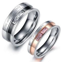 Tenri - Couple Rhinestone Lettering Titanium Steel Ring