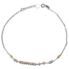 MaBelle - 14K Tri-Color Gold Diamond-Cut Balls Anklet / Braclet ('8')