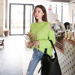 DABAGIRL - Cutout-Shoulder Cable-Knit Sweater