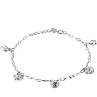MaBelle - 14K White Gold Diamond-Cut Star, Heart And Ball Bracelet (6.5'')