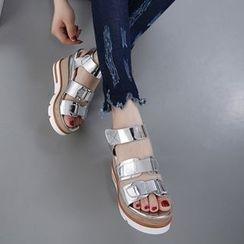 Anran - Platform Wedge Velcro Sandals