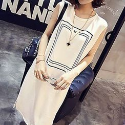 Fashion Street - Patterned Sleeveless T-shirt Dress