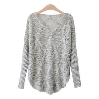 PEPER - V-Neck Mélange Open-Knit Top