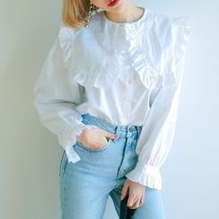 Jolly Club - Long-Sleeve Frilled Blouse