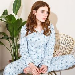 Hodohome - Pajama Set: Printed Shirt + Pants
