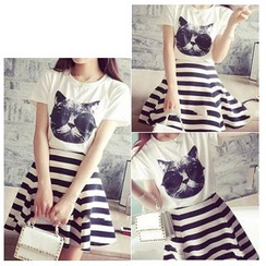 Rocho - Set: Cat Print T-Shirt + Striped A-Line Skirt