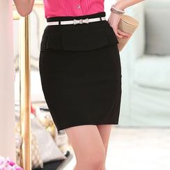Pearlescent - Ruffle Pencil Skirt