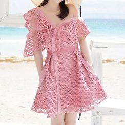 Amella - Off-Shoulder Lace A-Line Dress
