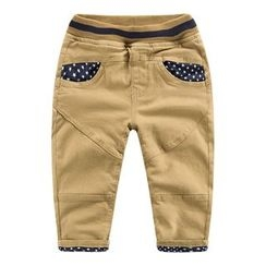 DEARIE - Kids Star Print Panel Band Waist Pants