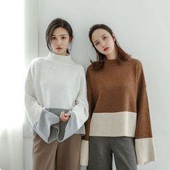 SUYISODA - Colour Block Mock-neck Knit Top
