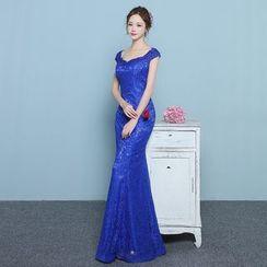 Loree - Short-Sleeve Mermaid Lace Evening Dress