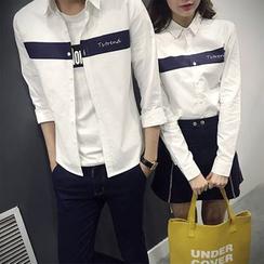 Evolu Fashion - 条纹情侣款衬衫